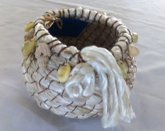 Rustic Coiled Rope Beach Basket with Seashells, Handstitched, White