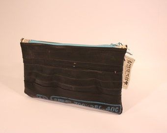 Case with blue lightning-Made with recycled bicycle inner tubes-Eco-friendly and vegan