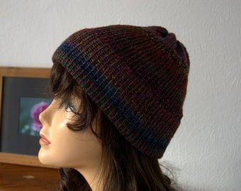 Unisex Handmade Hand Knitted Chunky Knit Beanie Hat - Mixed Colours, Green, Blue, Purple and Pink