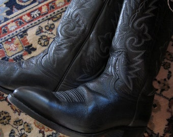 Black Dan Post Boots/Men's 9/ Women's 11/ Leather Cowboy Boot