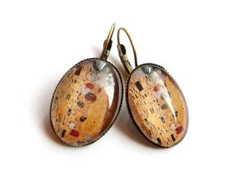 klimt the kiss rhinestone iuminous glass cabochon earrings