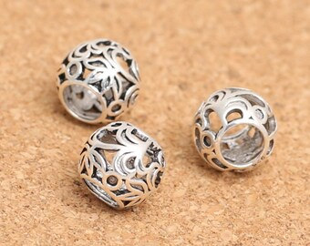4 Sterling Silver Rondelle Bead for European Bracelet, 925 Silver Large Hole Bead, 5mm Hole Bead, Hollow Flower Rondelle Beads - E572