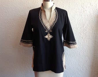 1970s black embroidered Indian tunic
