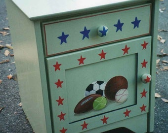 Child's sports night stand, hand painted night stand, kids furniture, kids night stand, children's furniture