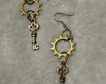 Gear and Key Steampunk Earrings