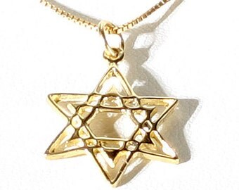 Beautiful Vintage 14K Yellow Gold 18.5MM x 16.25MM Star of David Pendant for Necklace