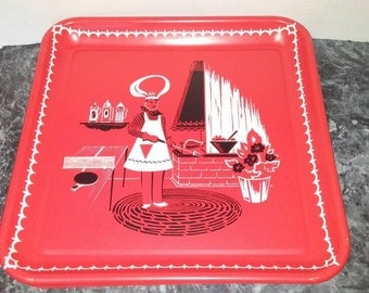 Vintage Set of 4 Red Square Tin Trays with a Barbeque Picture / Picnic Trays / Serving Trays