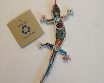 Eco-Art 'Gecko' Lizard Ornament, Quilled Paper Christmas Ornament, Recycled Paper, Upcycled Decoration, Handmade Gift, Mini Wall Art