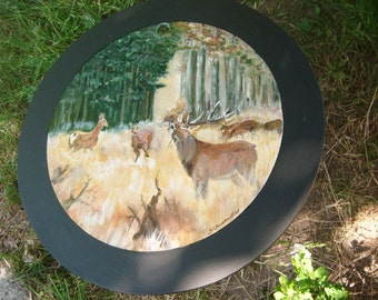 Happy hunting thanks Upcycling table of protect disc deer hunting table vintage - SKU 1345