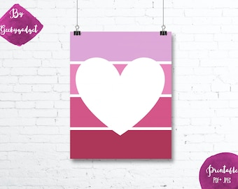 White Heart and pink paint chip - Nursery poster - Pdf printable, DIY, wall art, inspirational decoration, motivational