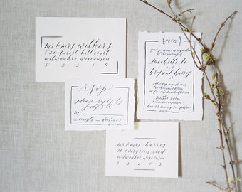 Customizable Calligraphy Wedding Invitation Suite - Fully Handwritten