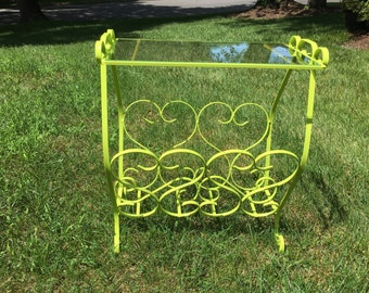 Lime Green Wrought Iron & Glass Accent Table