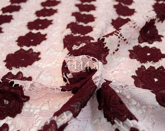 Bordeaux red roses lace fabric by the yard #5171