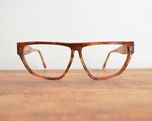 Vintage Glasses Frames, Flat Top Glasses, Krizia Designer Sunglasses, Prescription Eyeglasses, Oversized Glasses // 80s 90s Retro Hip Hop