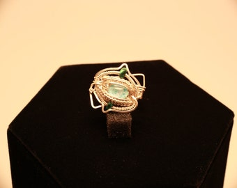 Opal / Malachite Sterling Silver ring size 6.5