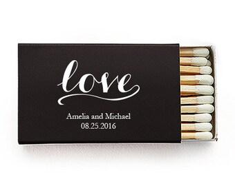 Set of 50 Love Script Matchboxes - Custom Wedding Matchbox - Personalized Wedding Matchboxes - Wedding Favors - Wooden Matches - Unique