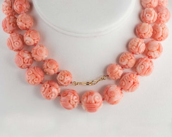 Vintage carved Mediterranean large carved variegated coral bead necklace. 30 inches 18k vermeil clasp nlja881(e)