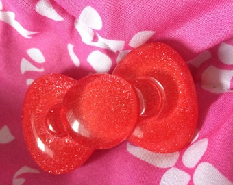 Red Hello Kitty inspired resin hair bow