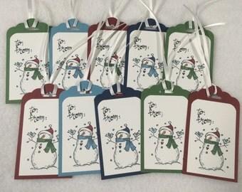 Christmas Tags Set of 10, Christmas Gift Tags, Stampin' Up! Christmas Tags, Stampin Up Handmade Tags, Holiday Tags, Snowman Gift Tags