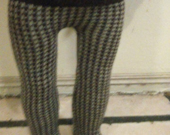 Tights in brown and beige houndstooth check to fit American girl doll or other 18 inch doll.