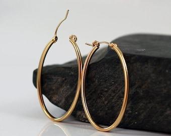 SUMMER SALE Gold hoop earrings , oval hoop earrings , gold  earring 42mm 1.6 inches