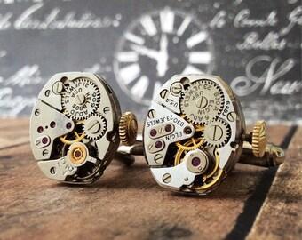 Steampunk Cufflinks, Watch Movement Cufflink, Elgin Cufflinks, Elgin Watch, Silver Tone Cufflinks, Steampunk Watch Movement Cufflinks