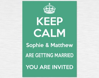 Our 'Keep Calm' Collection - Personalised Invitations - White on Green - multiple packs - personalised