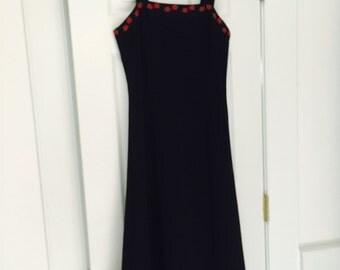 Vintage Black knit dress with Rose floral trim  SALE
