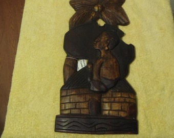 Handmade Mother Africa Hardwood Wall Plaque/ Mother Holding Child