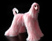 miniature dog, cute plush toy, Afghan Hound, pink dog figurine, faux fur toy, needle felted dog, miniature animal, dog, Stuffed Animals