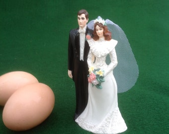 Wedding Cake Topper with Tule Veil