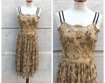 60s Pirovano Dress - Pirovane Hand Embroidered Dress - Vintage Tulle and Beads Dress