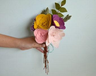 Felt Flower Bouquet - Alternative Bouquet - Bridal Keepsake Bouquet