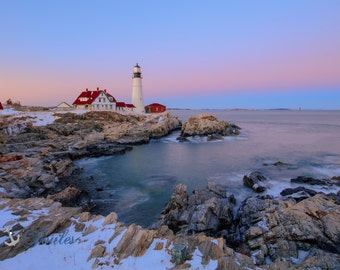 Portland Head Lighthouse ~ Cape Elizabeth, Maine, Lighthouse, New England, Ocean, Coastal, Seascape, Art, Photograph, Sunset,Wall Art,Canvas