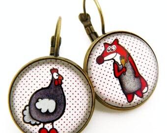 Fox and chicken hen earrings