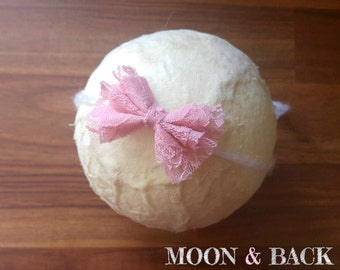 Handmade Pink Lace Bow Tieback Headband Newborn Photo Photography Prop