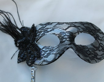Stunning Silver Lace Masquerade Mask on a Silver Stick