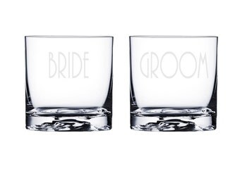 Personalized Whiskey Glasses - Bride and Groom / Custom Etched Wedding Gift / Rocks Glass / Scotch Glasses /  48 DESIGNS! / Set of 2 Glasses