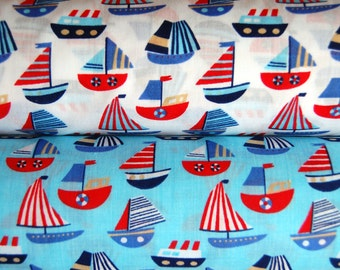Polycotton By the Metre Meter Children's Kid's YACHTS Boats Ships Seaside Ocean Sailing Sails Boating Fabric Crafts Sewing Blue White