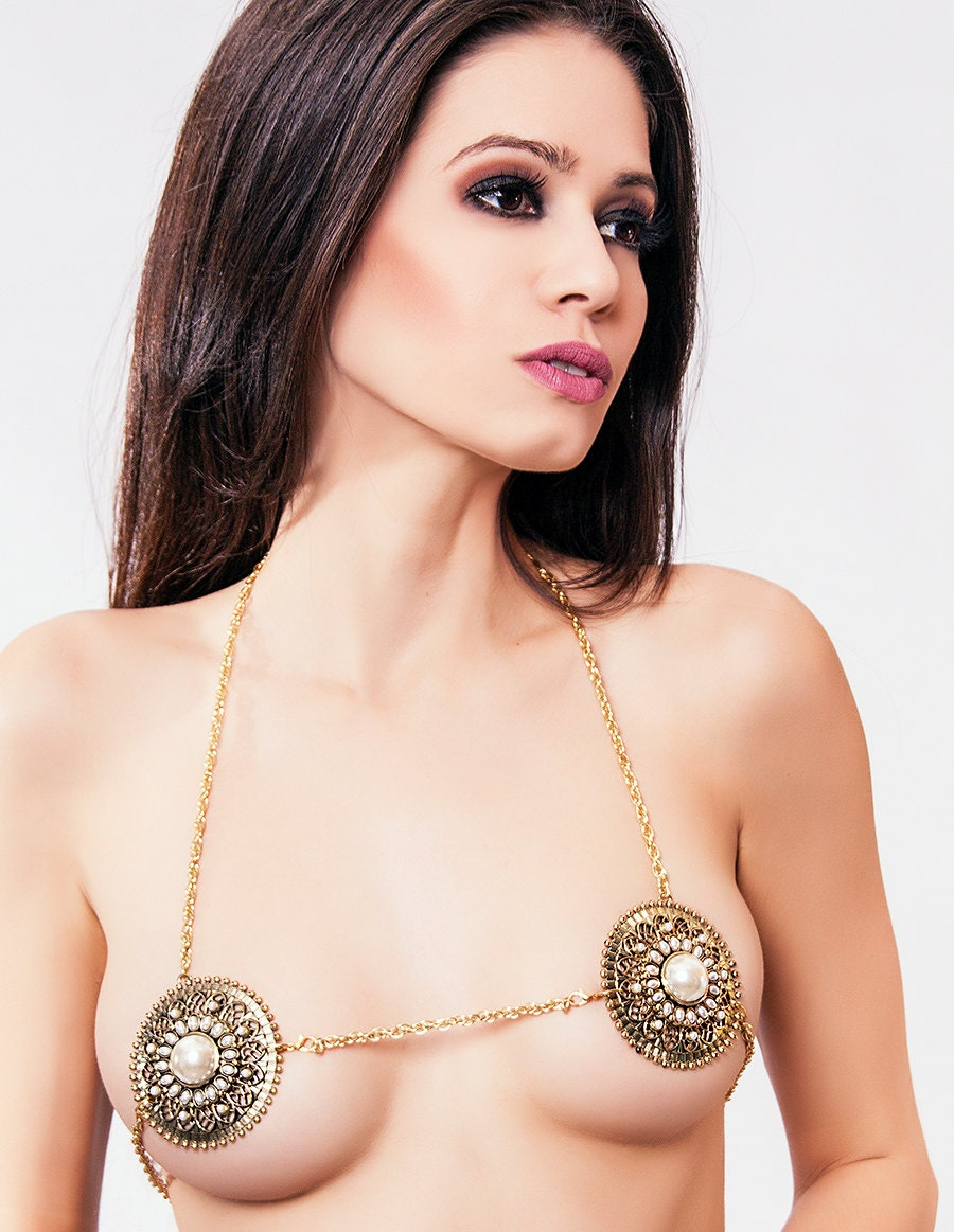 Gold Pearl Metal Pasties Medallion Chain Harness Bikini Top