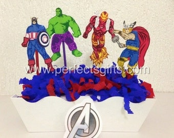 Marvel Avengers  Centerpiece Picks, Superhero Birthday Party Decoration.