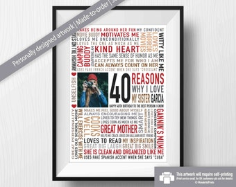 40th Birthday Gift for Sister /For Her / DIGITAL File / Reasons Why I Love You / Unique Gift / Personalised Word Art / Red Black Brown