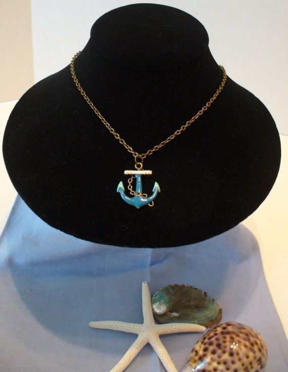 Beach Necklace, Anchor Necklace, Summer Necklace, Enameled Anchor Necklace, Turquoise Anchor, Simple Necklace, Ocean Necklace, MarjorieMae