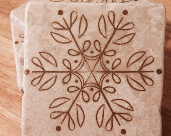Snowflake Coasters ~ Set of 4  ~ Glittler Snowflake ~ Christmas Coasters ~ Winter Coasters ~ Drink Coasters