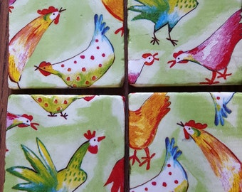 Rooster Coasters ~ Chicken Coasters ~ Natural Stone Tile Coasters ~Coasters ~ Set of 4 Stone Coasters