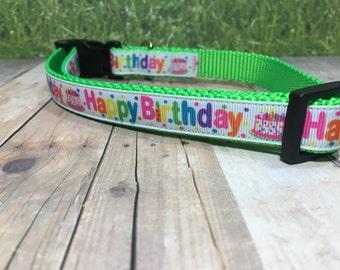 "The Birthday Pup II | Designer 3/4"" Width Dog Collar | CupcakePups Collars | Happy Birthday - Medium/Large Dog Collar"
