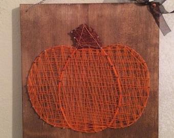 Pumpkin String Art Sign