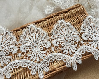 "Ivory Floral Lace Trim shabby Lace Embroidery Wedding Veil Lace Trim 5.31""  Wide 2 Yards S0241"
