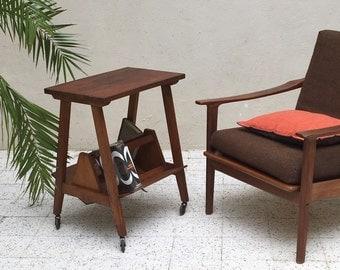 Vintage oak magazine rack table - table - Mid century side table - magazine rack