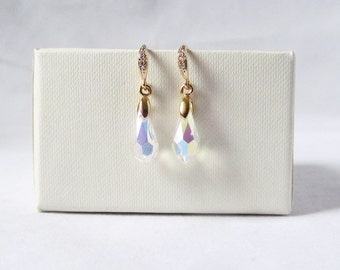 Iridescent earrings, sparkly earrings, ab crystal earrings, iridescent jewelry, bridesmaids gift, prom or pageant